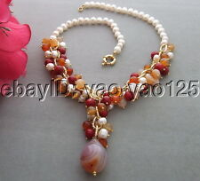 R010504 Excellent! Pearl&Carnelian&Coral Necklace