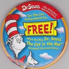 """VINTAGE 3"""" PINBACK #28-191 - MOVIE - DR. SEUSS' THE CAT IN THE HAT"""