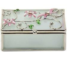Small Oblong Glass Pink Dragonfly Trinket Box