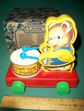 No. 6592 Teddy Bear Parade Bear Playing Drum Pull Toy - Fisher-Price 1991