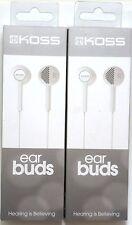 Lot of (2) KOSS 176801 Ultralightweight KE5 Earbud/Earphones (White) for mp3