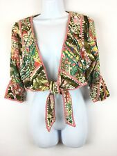 Double D Ranch M Bolero Open Jacket Top Ties Beads Sequins Embellished Designer
