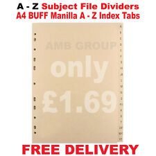 New Pack of A4 BUFF A-Z Subject DIVIDERS 20 Part Punched Manilla A-Z Index Tabs