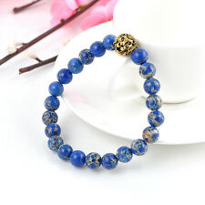 Fashion 8mm Long Beads Men's Blue Sea Sediment Jasper Stone Gold Lion Bracelet I