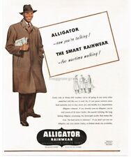 1943 ALLIGATOR Rainwear Raincoats art VTG PRINT AD