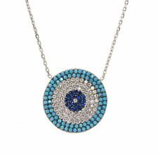 Evil Eye Turqouise Charm Greek Mati Turkish Hamsa 925 Sterling Silver Necklace