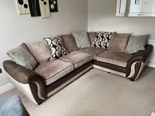 Large DFS Corner Sofa - Left Hand Facing - Beige & Brown