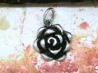 Petit Rose Pendentif 925 Sterling Argent Pétale de Rose Fleur