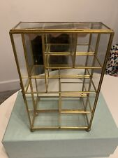 Vintage Glass Curio Cabinet  With Brass Trim And Mirrored Back.