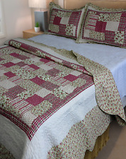 Shabby Chic Queen / King Bedspread Set Throw Coverlet Deep Pink Green Cream