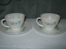Set of 2 Fire King Tea Cups with Saucers - Bonnie Blue Flower Pattern
