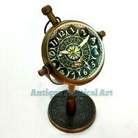 Antique Style Brass Desk Clock Quartz Vintage Table top Decorative