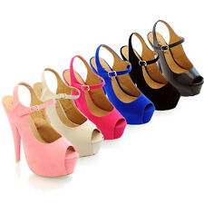 WOMENS LADIES STILETTO PEEP TOE HIGH HEEL SLING BACK COURT SHOES SIZES 3-8 H688