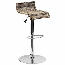 Flash Furniture Contemporary Wicker Adjustable Height Barstool w/Chrome Base NEW