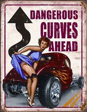 Metal Sign Vehicle Pin Up Dangerous Curves Ahead NEW