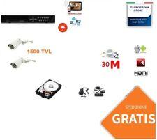 KIT VIDEOSORVEGLIANZA HD CLOUD DVR 4 CANALI 2 TELECAMERE HD INFRAROSSI 1200 TVL