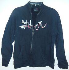 Quiksilver Boys Sz M Sweatshirt Zipper Black Pockets White Plaid Logo