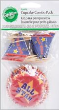 Wilton 24pk Sports Cupcake Baking Cases Cups & Picks Combo Pack Decoration