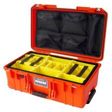 Orange Pelican 1535 Air case with dividers (yellow) and lid organizer.