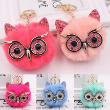 Keychain Charm Owl Fox Faux Fur Pendant Fluffy Pompom Ball For Car Bag Decors