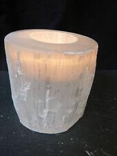 SELENITE naturale piatto lucidato 8cm cristallo Tè Leggero titolare mozzafiato quando acceso