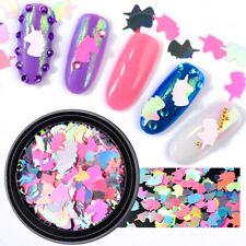 1Pot Unicorn Nail Art Sequins Rainbow Stickers 3d Colorful Manicure Decorations