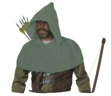 Adults Willow Green Medieval Archers Cowl Fleece Arrow Hooded Forest Huntsman