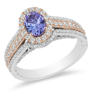 1.20Ct Blue Sapphire Oval Diamond Two Tone Engagement Ring 925 Sterling Silver