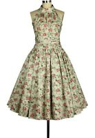 18 20 22 24 26 28 PLUS SIZE TTS GREEN PINK FLORAL VINTAGE 50s STYLE SWING DRESS