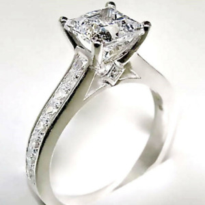 2.56 TCW Princess Cut DVVS1 Moissanite Engagement Ring In 14k White Gold Plated
