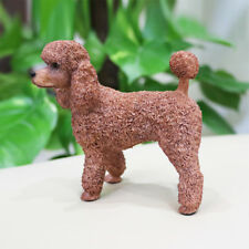 Resin MINI British Poodle dog Hand Painted simulation model Statue BROWN