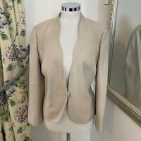 Jacques Vert Size 16 gold sleeve fitted wedding guest party occasion jacket VG