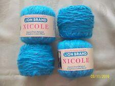 3+ Lion Brand Nicole Cotton Blend Nubby Textured Belgian Yarn - Turquoise #148