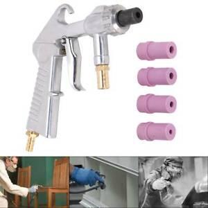 Sand Blasting Gun Sandblaster w/ Ceramic Nozzles Extra Iron Nozzle Tip Set