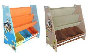 Kiddi Style Pirate Childrens Kids Sling Bookshelf Rack Toy Chests Storage Bins