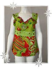 B - Débardeur Fantaisie Vert Rouge Perles Breloque  Savage Culture Taille L