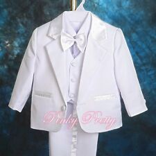 5pc Set Formal Suits Outfits Christening Wedding Page Boys White 9m-12m ST022A