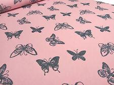 Stoff Sweatshirtstoff French Terry Glitzer Schmetterlinge Butterfly rosa anthra