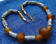 NWT necklace recycled handmade glass beads funky amber black & white chunky K106