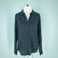 Superdry Size Small S Top Embroidered Sequin Button Tab Roll Sleeve Cotton Navy