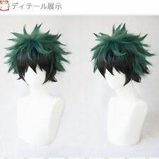 My Hero Academia Izuku Midoriya Short green black mixed Cosplay Hair Wig + Cap