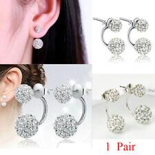 Disco Ball Dangle Silver Stud Earrings For Women Crystal CZ Fashion Dual
