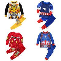 Kid Boy Marvel Superhero Pjs Pyjamas Sleepwear Nightwear Outfit Set 2pcs Clothes