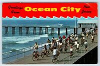Vintage Postcard Greetings From Ocean City New Jersey NJ Bicycles Boardwalk