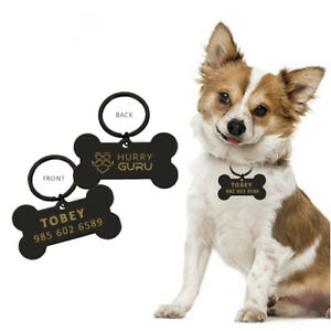 Pet ID Tag Engraved Deep Dog Name Tags Personalized Customized Name Tag