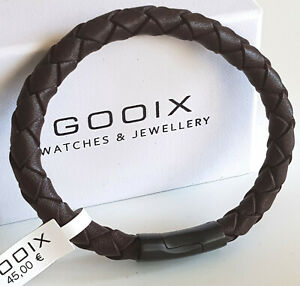 GOOIX Herren Edelstahl Magnet Armband Lederband braun L 21 cm NEU 414-06764 35