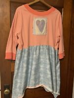 Artist Tunic Top 3X Asymmetrical Wearable Art Boho Lagenlook Heart 3/4 Stripe