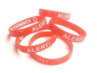 Medical Alert Bracelet, Red & White, Silicone Rubber, Double-Sided Wristband