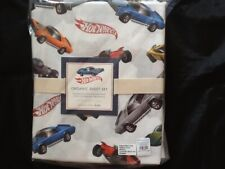 """NEW"" POTTERY BARN KIDS ORGANIC HOT WHEELS SHEET SET FULL MULTI NEW"