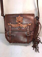 Vtg Tooled Leather 60-70's Hippie Retro Handbag Pocketbook Purse Fringe Pouch